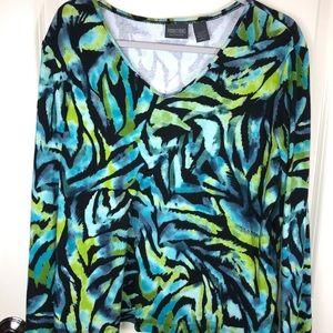 Chico's Green Palm Like Print on Black Top sz XL